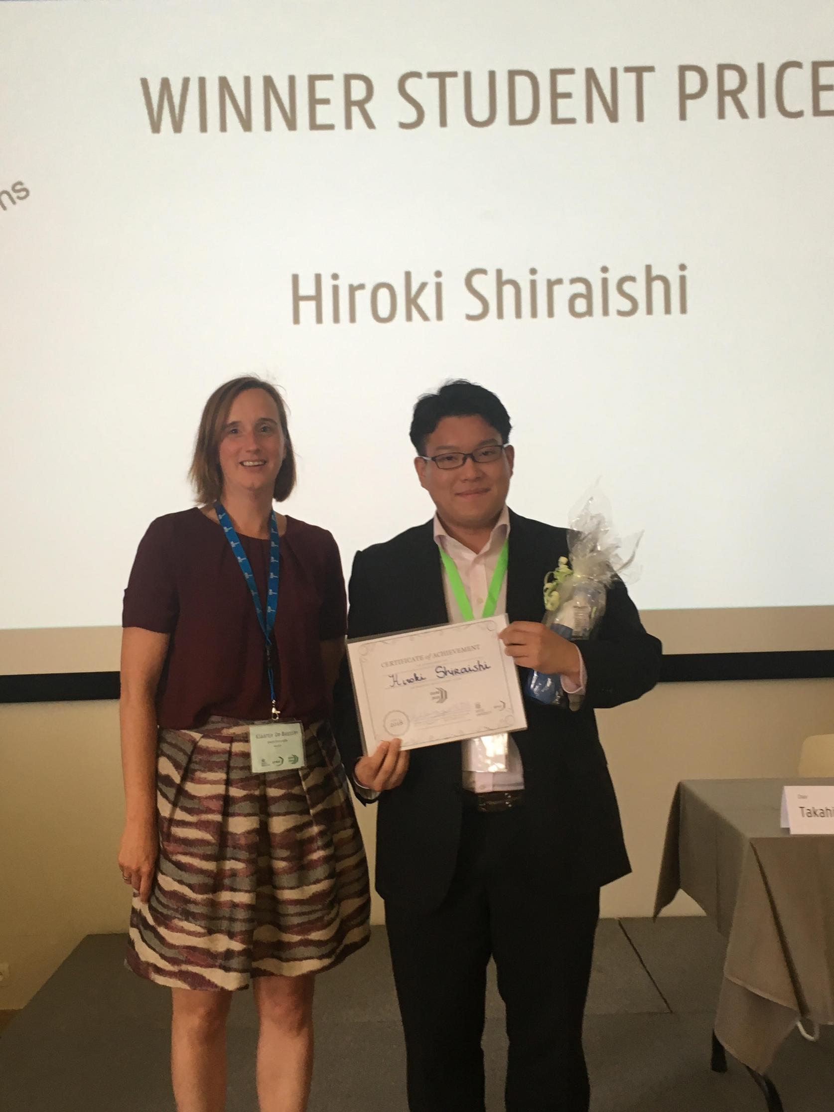物質応用化学専攻2年の白石紘規さんが「International Symposium on Inorganic and Environmental Materials 2018(ISIEM 2018)」において最優秀学生ポスター賞を受賞しました。