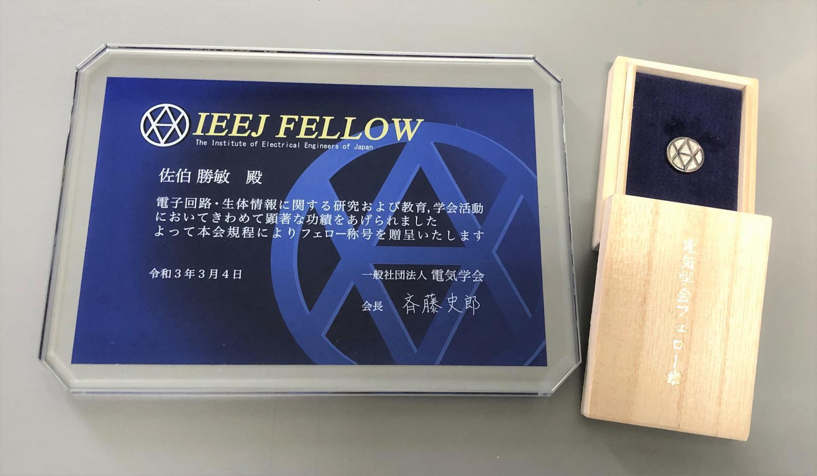 電子工学科 佐伯勝敏教授が電気学会よりフェローの称号を授与されました。